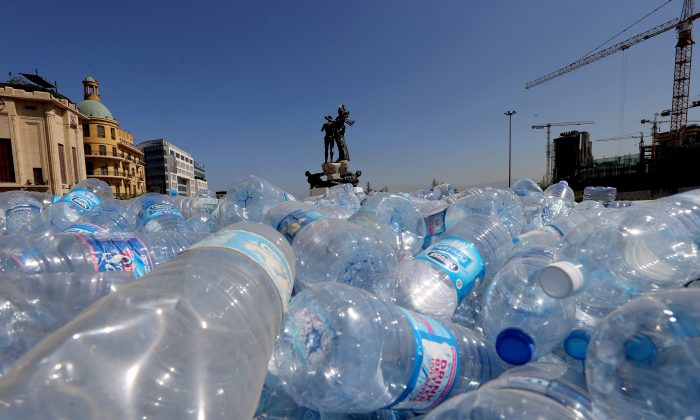 Empty plastic bottles are seen piled up by Lebanese activists in order to be recycled, on August 28, 2015, on Beirut's Martyrs Square. (JOSEPH EID/AFP/Getty Images)