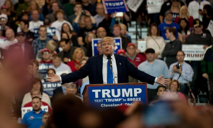 Republican presidential candidate Donald Trump speaks to guests gathered for a campaign event at the I-X Center in Cleveland, Ohio, on March 12, 2016. (Jeff Swensen/Getty Images)