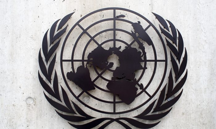 The United Nations emblem is seen in front of the United Nations Office (UNOG) in Geneva, Switzerland, on June 8, 2008. (Johannes Simon/Getty Images)