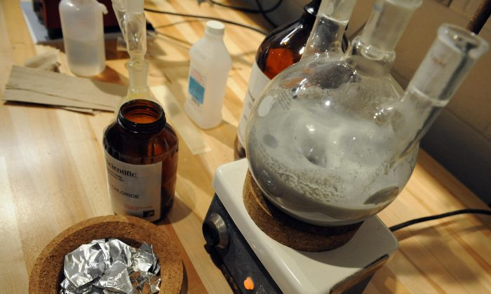 "A mock ""ecstasy"" lab for teaching purposes at the new National Clandestine Laboratory Training and Research Facility at the DEA Training Academy in Quantico, Va., on Dec. 5, 2008. (Tim Sloan/AFP/Getty Images)"