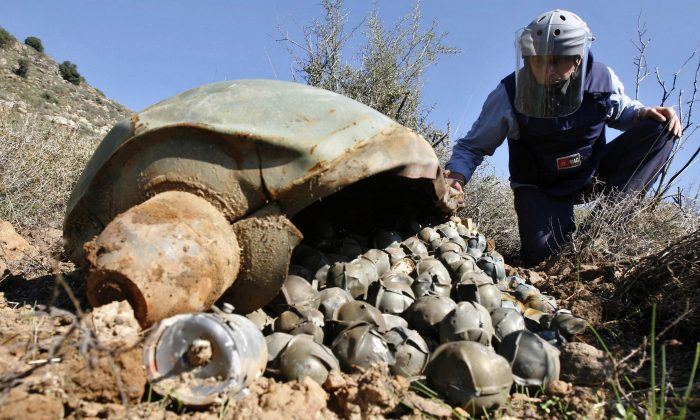 Mines Advisory Group (MAG) Technical Field Manager Nick Guest inspecting a Cluster Bomb Unit in the southern village of Ouazaiyeh, Lebanon, on Nov. 9, 2006, that was dropped by Israeli warplanes during the 34-day-long Hezbollah-Israeli war. (AP Photo/Mohammed Zaatari)