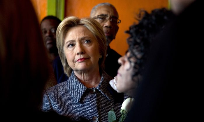 Democratic presidential candidate Hillary Clinton campaigning in Chicago, Monday, March 14, 2016. (AP Photo/Carolyn Kaster)