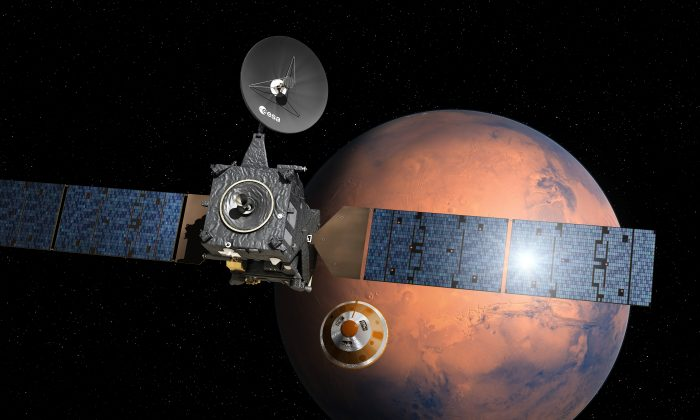 Artist's concept of the ExoMars Trace Gas Orbiter (TGO) deploying the Schiaparelli Entry Descent and Landing demonstrator module (EDM) just before arrival at Mars in October 2016. (D. Ducros/ESA, CC BY-SA 4.0)