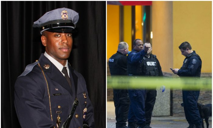 Left:  Prince George's County Police Department officer Jacai Colson. (Prince George's County Police Department via AP); Right: Police stand outside a Popeyes restaurant during an investigation into the shooting of a Prince George's County police officer outside a police station, on Sunday, March 13, 2016, in Hyattsville, Md. (AP Photo/Evan Vucci)