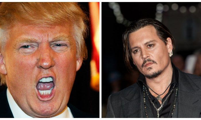 Donald Trump at the Treasure Island Hotel & Casino April 28, 2011 in Las Vegas, Nevada. (Photo by David Becker/Getty Images);Actor Johnny Depp poses for photographers at the London Film Festival, in London, Oct. 11, 2015. (Photo by Grant Pollard/Invision/AP)