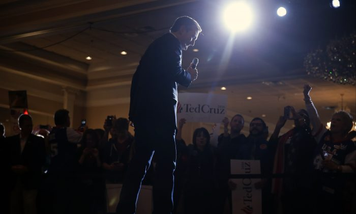 Republican presidential candidate, Sen. Ted Cruz, R-Texas, speaks during a rally at Abbington Banquets, in Glen Ellyn, Ill., on March 14, 2016. (AP Photo/Kiichiro Sato)