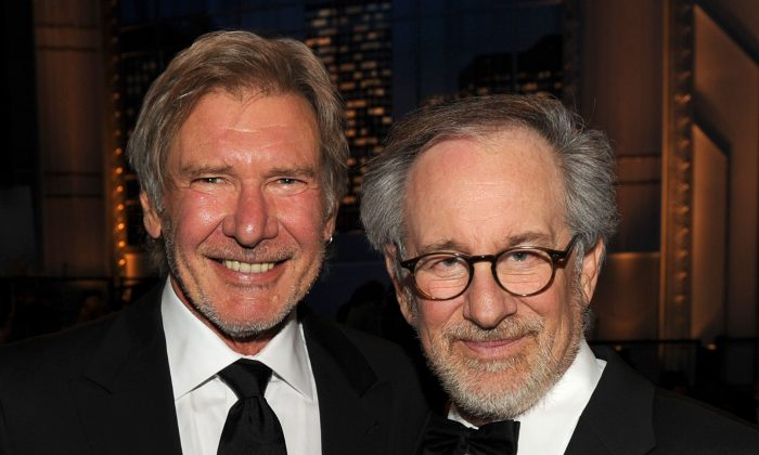 Actor Harrison Ford (left) and Director Steven Spielberg (right) pose during the 38th AFI Life Achievement Award honoring Mike Nichols held at Sony Pictures Studios on June 10, 2010. (Photo by Kevin Winter/Getty Images for AFI)