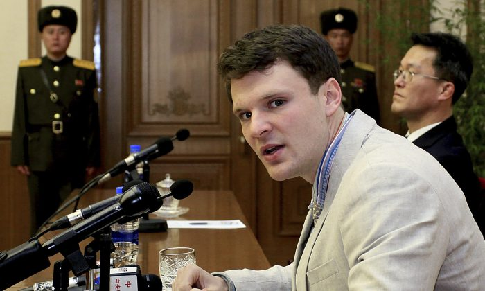 In this Feb. 29, 2016, file photo, American student Otto Warmbier speaks as he is presented to reporters in Pyongyang, North Korea. (AP Photo/Kim Kwang Hyon, File)