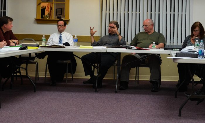 The Town of Monroe's revived Board of Ethics at the Monroe senior center on March 10. (Yvonne Marcotte/Epoch Times)