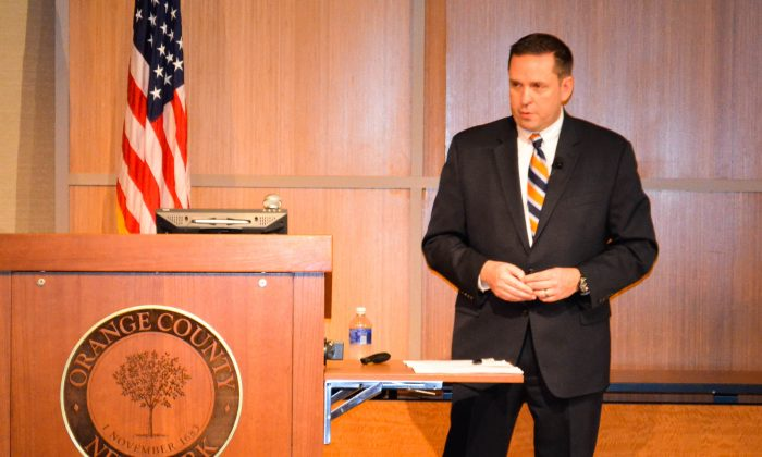 Orange County Executive Steven Neuhaus delivers the 2016 State of the County address in Goshen on March 15, 2016. (Yvonne Marcotte/Epoch Times)