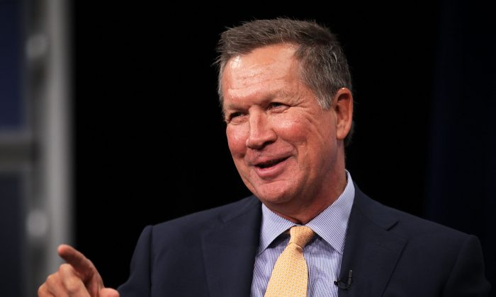 Republican presidential candidate and Ohio Gov. John Kasich speaks as he participates in a discussion with Javier Palomarez, president & CEO of the U.S. Hispanic Chamber of Commerce, at the Newseum in Washington, D.C., on Oct. 6, 2015. (Alex Wong/Getty Images)