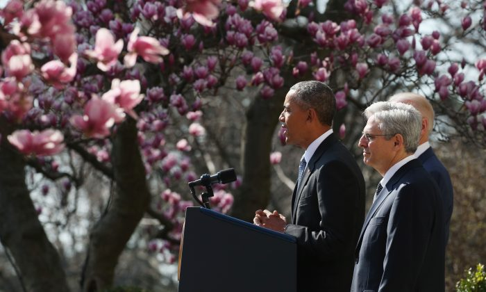 President Barack Obama with Judge Merrick B. Garland, while nominating him to the U.S. Supreme Court, in the Rose Garden at the White House in Washington, D.C., on March 16, 1016. (Mark Wilson/Getty Images)