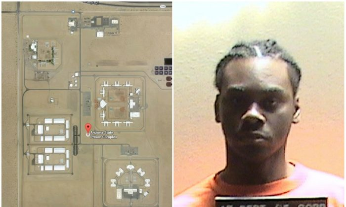 Left: Yuma Prison, San Luis, Ariz. (Google Maps); Right: Fernandes Masters. Masters, an Arizona prison inmate already serving a life term without parole, will get an additional 11 years in prison after pleading guilty to trying to rape a guard at the prison in Yuma. (Arizona Department of Corrections via AP)