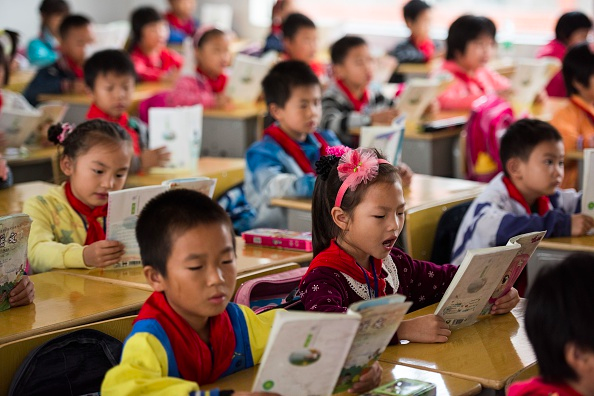 Chinese schoolchildren attending class on October 8, 2015. (JOHANNES EISELE/AFP/Getty Images)