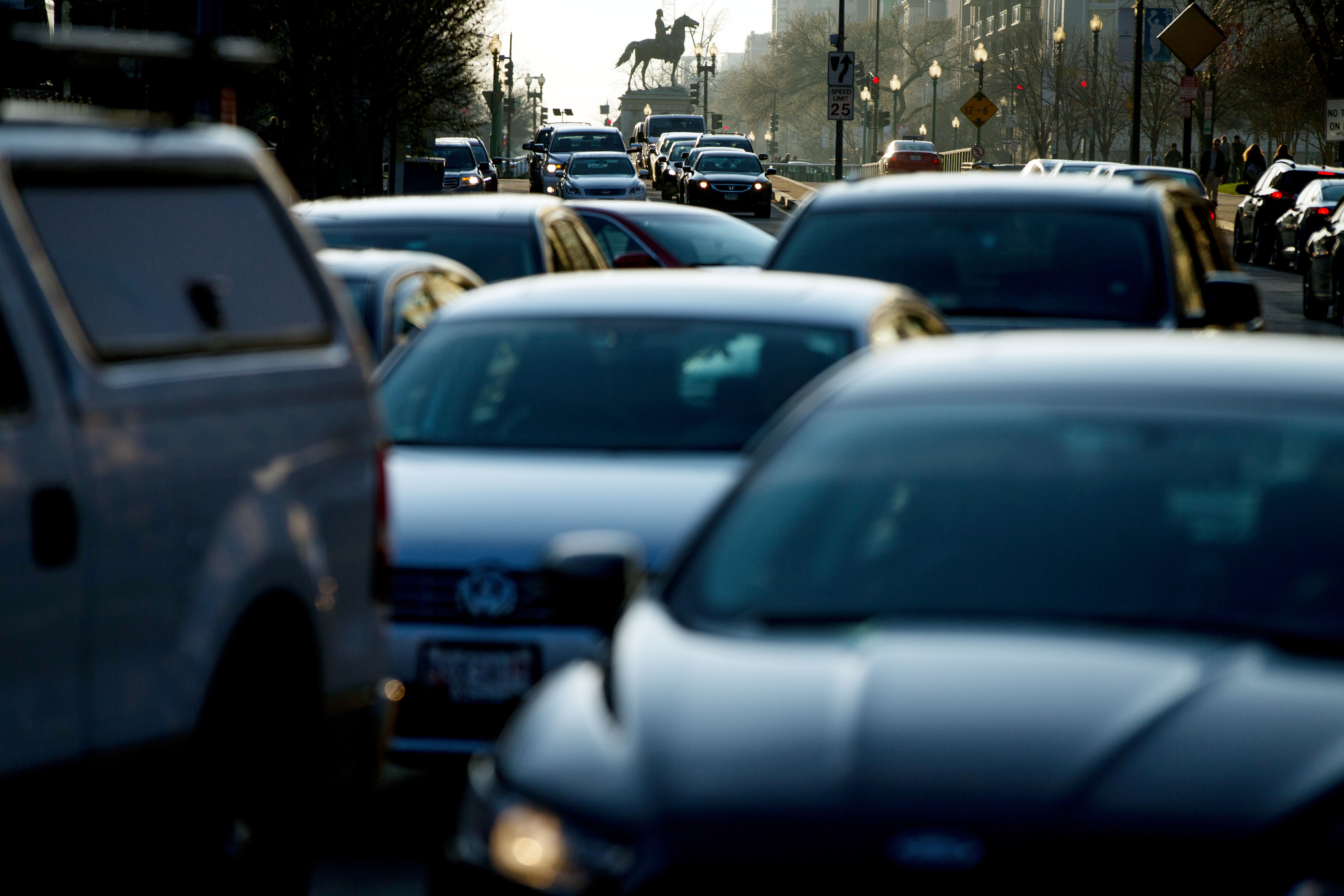 A file photo of morning traffic. Busy roads could become a source of energy if piezoelectricity studies are successful in California. (AP Photo/Andrew Harnik)