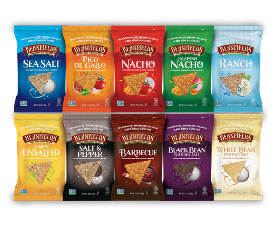 Beanfields tortilla chips made with rice and bean, in ten flavors. (Courtesy of Beanfields)