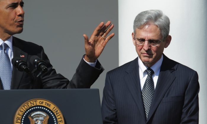 U.S. President Barack Obama (L) introduces Judge Merrick Garland as his nominee to replace the late Supreme Court Justice Antonin Scalia in the Rose Garden at the White House, March 16, 2016 in Washington, DC. (Photo by Chip Somodevilla/Getty Images)