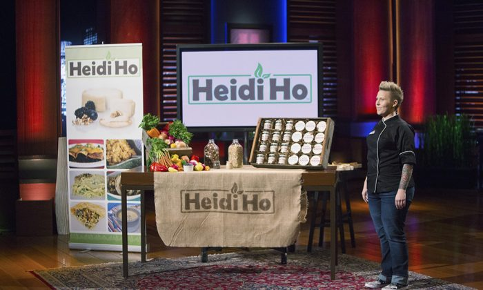 Heidi Lovig, nut-based cheesemaker and founder of Heidi Ho, on Shark Tank, where she secured $125,000 from investor Lori Greiner for 30 percent of the business. (Courtesy of Heidi Ho)
