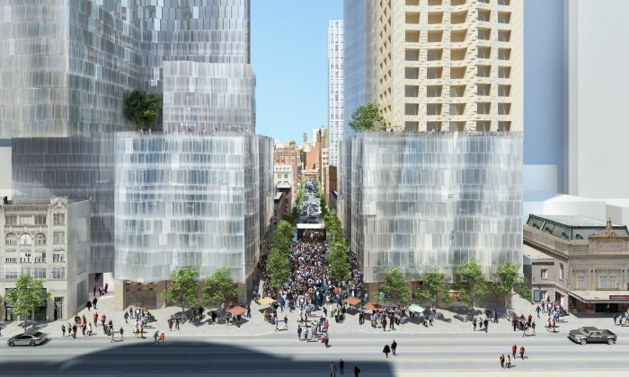 Rendering of Mirvish+Gehry Towers. Mirvish+Gehry Toronto will create a new visual identity for the city's premier arts district. (Milborne Real Estate Inc.)