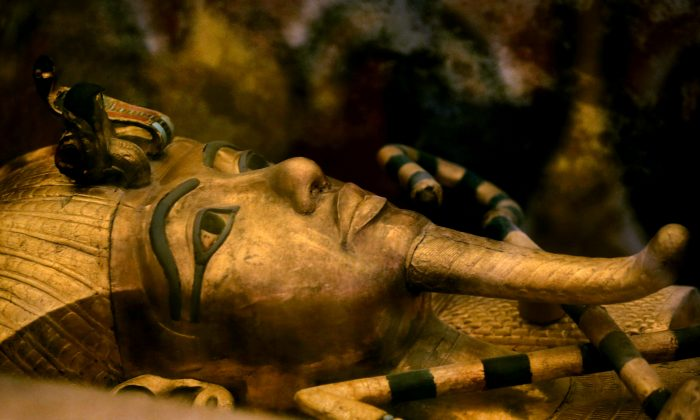 A file photo of King Tutankhamun's golden sarcophagus displayed at his tomb in a glass case in the Valley of the Kings in Luxor. (AP Photo/Amr Nabil)