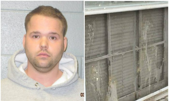 Jason E. Kozan and the window he's accused of egging. (Euclid Police Department)