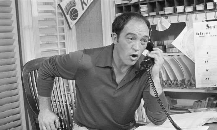"""In this March 18, 1980 file photo, actor Joe Santos appears on the set of the NBC-TV comedy series """"Me and Maxx,"""" in Los Angeles. Santos, who is best known for his role as Lieutenant Dennis Becker on """"The Rockford Files,"""" died Friday, March 18, 2016 in Santa Monica, Calif., after suffering a heart attack earlier in the week. He was 84. (AP Photo/Wally Fong, File)"""