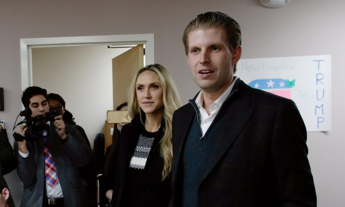 Eric Trump (R), son of Republican presidential candidate Donald Trump, along with wife Lara, in Manchester, New Hampshire on Feb.  9, 2016. (Matthew Cavanaugh/Getty Images)