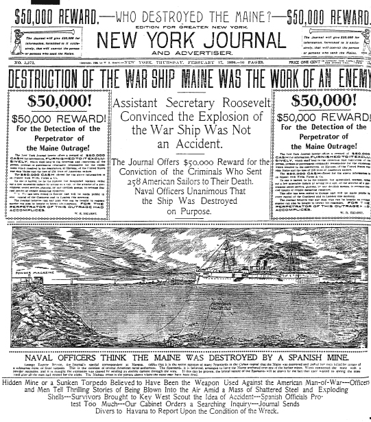 Remember the Maine. (New York Journal, Public Domain)