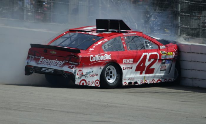 Kyle Larson was involved in an on-track incident during the NASCAR Sprint Cup Series Auto Club 400 at Auto Club Speedway on March 20, 2016 in Fontana, California. (Jeff Gross/Getty Images)
