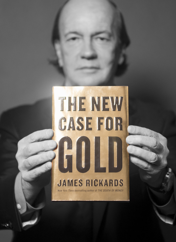 "James Rickards with his book ""The New Case for Gold"""