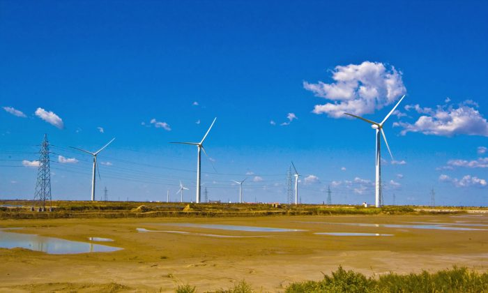 In a picture taken on December 10, 2009 Wind turbines dot the landscape on the outskirts of Dongying, in central China's Shandong province. (AFP/AFP/Getty Images)