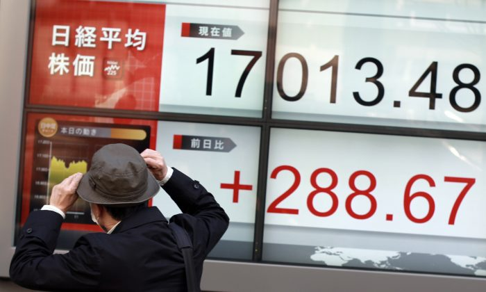 A man walks past an electronic stock board showing Japan's Nikkei 225 at a securities firm in Tokyo Tuesday, March 22, 2016. Asian shares were mixed Tuesday following modest gains on Wall Street and a contraction of an indicator of Japanese manufacturing activity in March, the first in 10 months. (AP Photo/Eugene Hoshiko)
