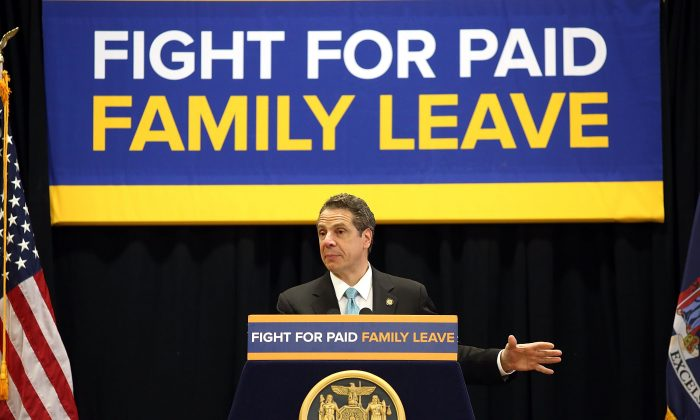 N.Y. Gov. Andrew Cuomo speaks to promote his paid family leave initiative at a rally in Manhattan, New York City, on March 10, 2016. (Spencer Platt/Getty Images)