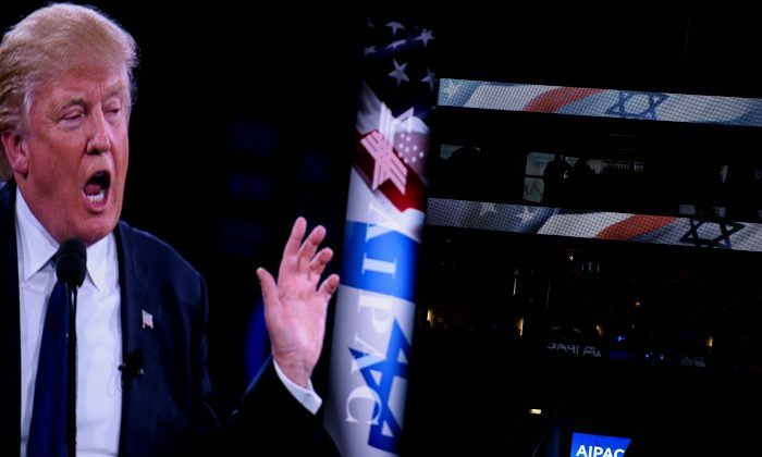 US Republican presidential hopeful Donald Trump  addresses the 2016 American Israel Public Affairs Committee policy conference at the Verizon Center March 21, 2016 in Washington, DC. (Brendan Smialowski/AFP/Getty Images)