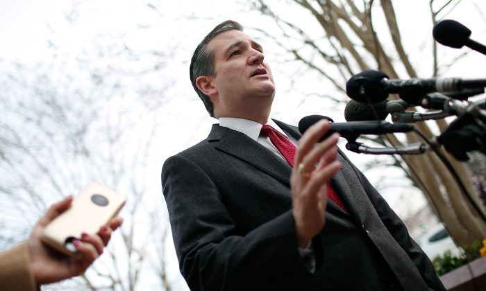 Republican presidential candidate Sen. Ted Cruz (R-TX) addresses the bombings in Brussels during remarks March 22, 2016 in Washington, DC.   (Win McNamee/Getty Images)
