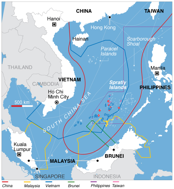"Chinese claims denoted by the red line, often called the ""nine-dash line."" (Voice of America)"
