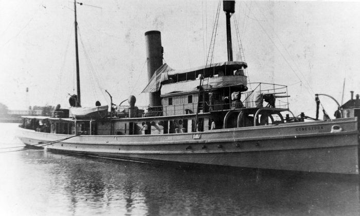In this image provided by the U.S. Naval History and Heritage Command,  the USS Conestoga (AT-54) is seen in San Diego, Calif, circa early 1921. (U.S. Naval History and Heritage Command via AP)