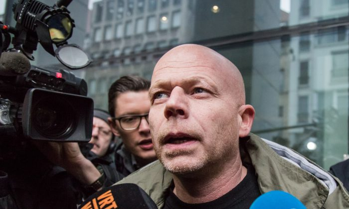 Sven Mary, Belgian lawyer of Paris attacks suspect Salah Abdeslam, talks to the media outside the building of the Federal Police in Brussels, on March 19, 2016. (Aurore Belot/AFP/Getty Images)