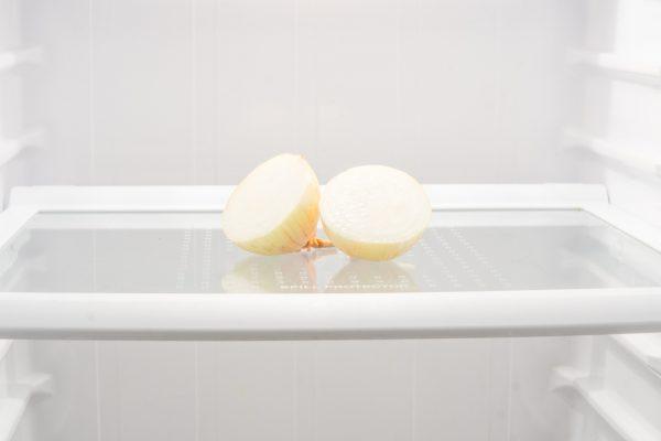 Onion. Bulb. Bulb in the refrigerator