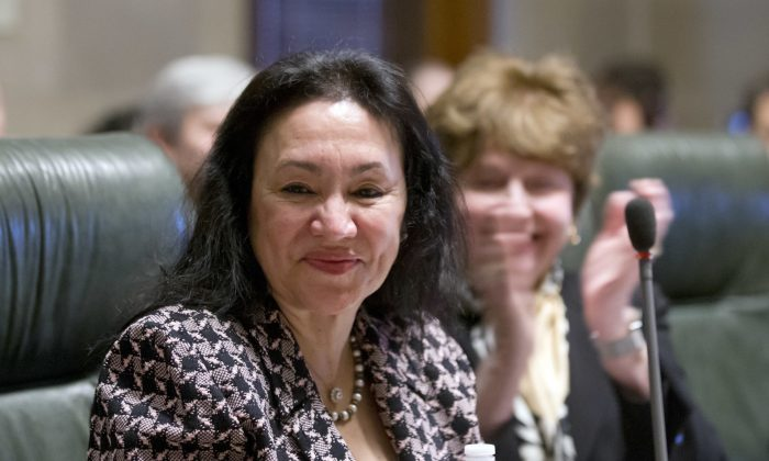 Betty Rosa after being elected chancellor of the New York Board of Regents during a meeting on March 21, 2016, in Albany, N.Y.  (Mike Groll/AP Photo)
