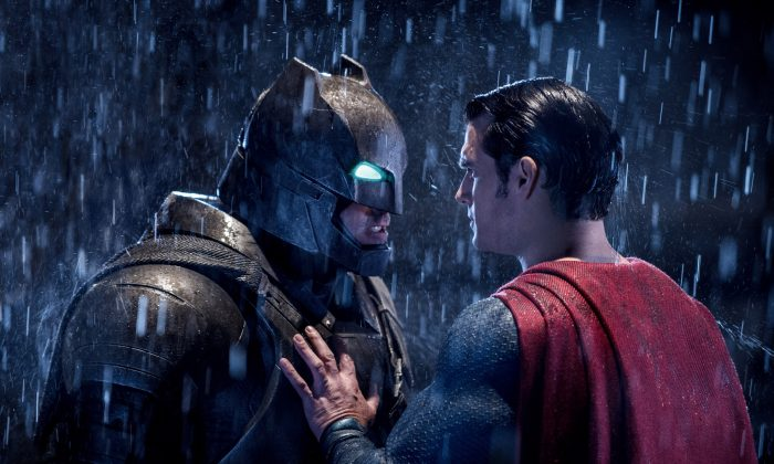 "This image released by Warner Bros. Entertainment shows Ben Affleck as Batman (L) and Henry Cavill as Superman in a scene from, ""Batman V. Superman: Dawn Of Justice."" (Clay Enos/Warner Bros. Entertainment via AP)"
