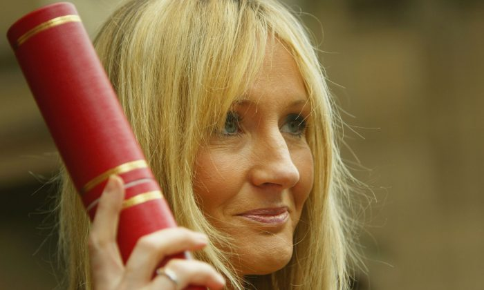 Harry Potter author JK Rowling receives an Honorary Degree of Doctor honoris causa at the University of Edinburgh's graduation ceremony in McEwan Hall on July 8, 2004 in Edinburgh, Scotland. (Christopher Furlong/Getty Images)