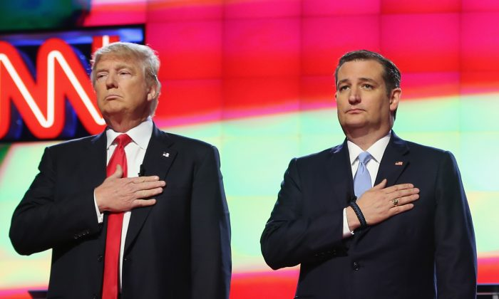 Republican presidential candidates Donald Trump and Sen. Ted Cruz (R-TX).(Photo by Joe Raedle/Getty Images)