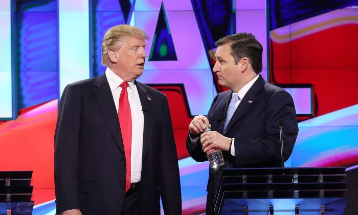 Republican presidential candidates Donald Trump and Sen. Ted Cruz (R-TX), at The Washington Times Republican Presidential Primary Debate on the campus of the University of Miami on March 10, 2016 in Coral Gables, Florida. (Joe Raedle/Getty Images)