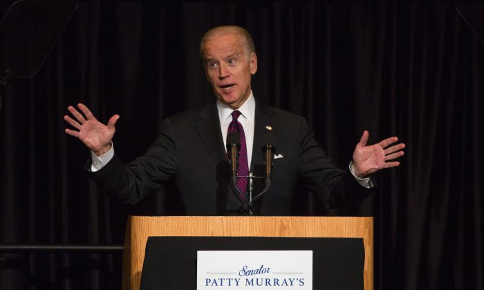 Vice President Joe Biden speaks at a luncheon with Washington State Sen. Patty Murray in Seattle on Monday, March 21, 2016. (Ellen M. Banner/The Seattle Times via AP) MANDATORY CREDIT