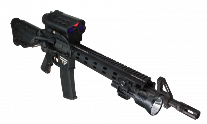 The NightEagle semi-automatic smart rifle is shown in a press image from TrackingPoint. The rifle has technology that automatically tracks targets, and a built-in camera to record video. (Courtesy of TrackingPoint)