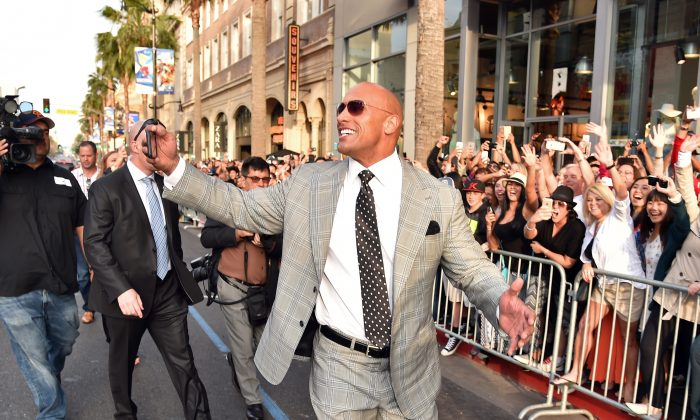 "Dwayne ""The Rock"" Johnson arrives at the premiere of Warner Bros. Pictures' ""San Andreas"" at TCL Chinese Theatre on May 26, 2015 in Hollywood, California."