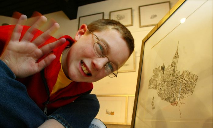 Joshua Whitehouse with his drawings at Number 9 Gallery in Birmingham, U.K., in this file photo. Whitehouse suffers from a rare form of Autism called Aspergers syndrom have put all his artistic efforts on drawing New York. (Odd Andersen/AFP/Getty Images)