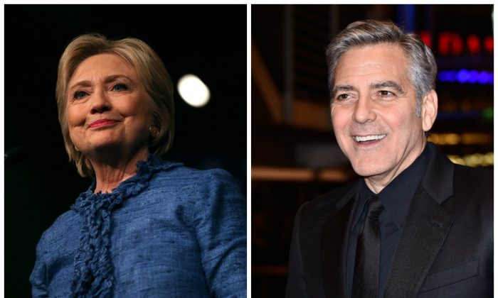 On April 15, actor George Clooney and presidential candidate Hillary Clinton are asking $353,400 for two tickets to sit at a table with them at a San Francisco fundraiser.  (Justin Sullivan/Getty Images--Pascal Le Segretain/Getty Images)