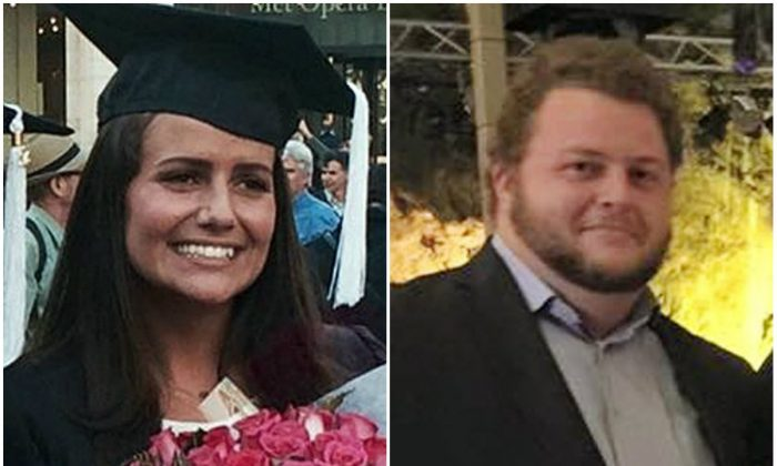 Left: This May 2015 family photo shows Sascha Pinczowski at her graduation from Marymount Manhattan College in New York. (Courtesy of the family via AP); Right: This 2015 family photo shows Alexander Pinczowski in Greece. (Courtesy of the family via AP)